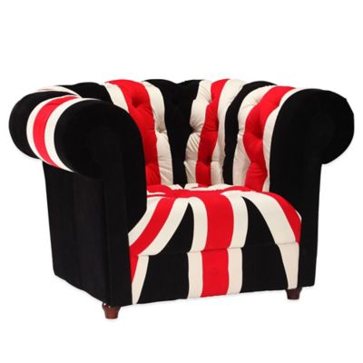 Zuo® Modern Union Jack Arm Chair in Red, White & Black