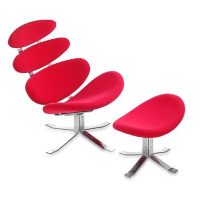 Zuo® Modern Petal Occasional Chair & Ottoman in Red