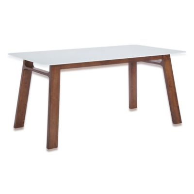 Zuo® Modern Coconut Grove Dining Table in Walnut & White
