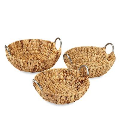 Round Straw Trays with Metal Handles (Set of 3)