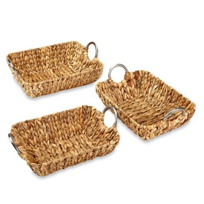 Rectangular Straw Trays with Metal Handles in Natural (Set of 3)