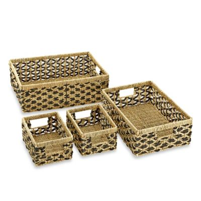 Rectangular Seagrass Trellis Baskets in Natural/Black (Set of 4)