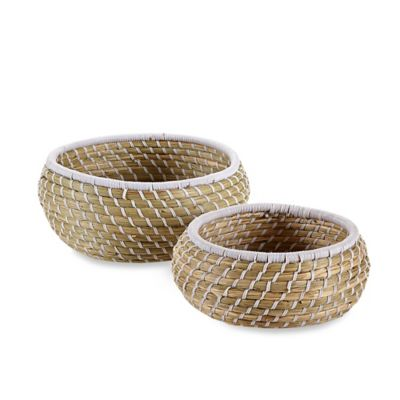 Woven Seagrass Bowls in Natural/White (Set of 2)