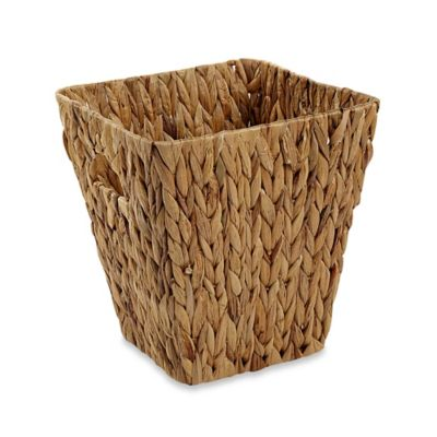 Square Woven Water Hyacinth Bucket in Natural