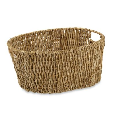 Oval Woven Water Hyacinth Basket in Natural