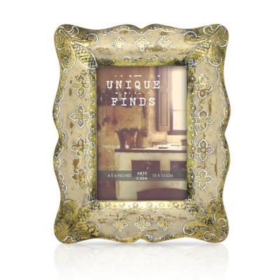 Arte de Casa 4-Inch x 6-Inch Pave Frame in Gold