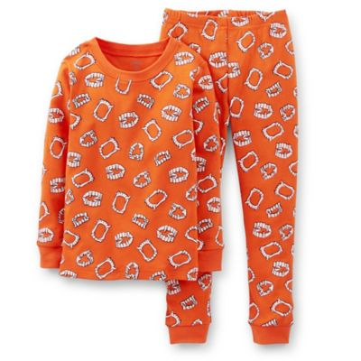 Carter's® Size 2T 2-Piece Glow-in-the-Dark Teeth PJs in Orange