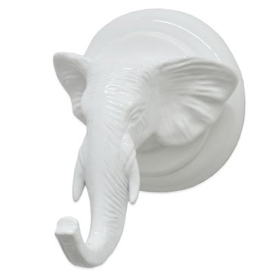 Small Elephant Head Wall Hook in Gloss White
