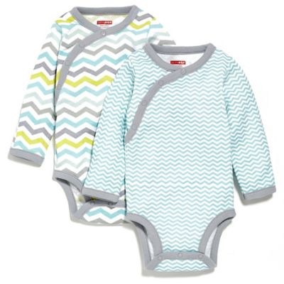 SKIP*HOP® Newborn Side Snap Long Sleeve Print Bodysuit 2-Pack in Blue/Chevron