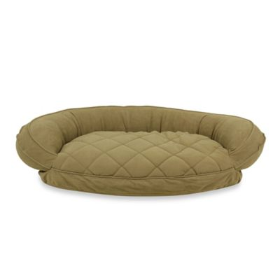 Carolina Pet Company Small Quilted Bolster Pet Bed with Moisture Barrier Protection in Sage