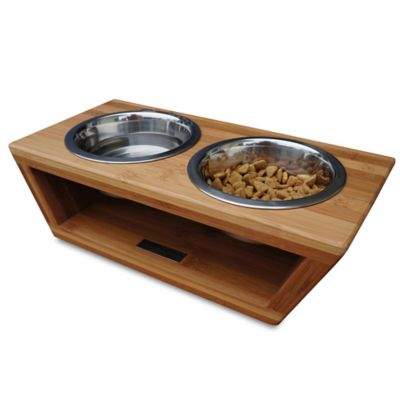 Pet Lounge Studios Bambu Small Angled Diner in Bamboo/Stainless Steel