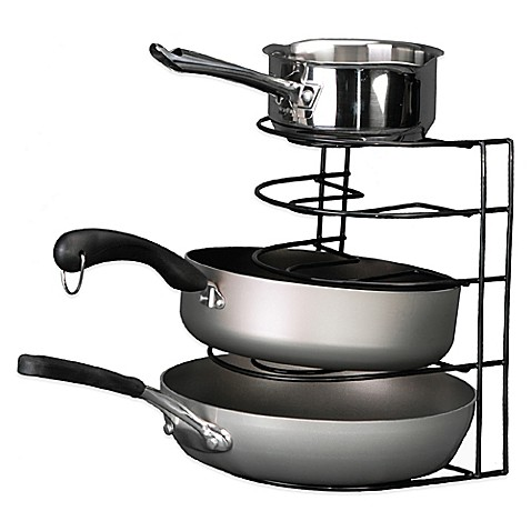 buy grayline pot and pan organizer rack in black from bed bath beyond. Black Bedroom Furniture Sets. Home Design Ideas