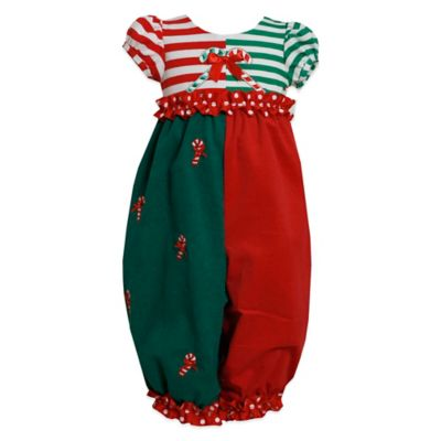 Bonnie Jean Size 0--3M Candy Cane Coverall
