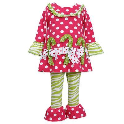 Bonnie Jean Size 12M 2-Piece Candy Cane Pant Set