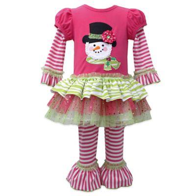 Bonnie Jean Size 3T 2-Piece Top Hat Snowman Pant Set