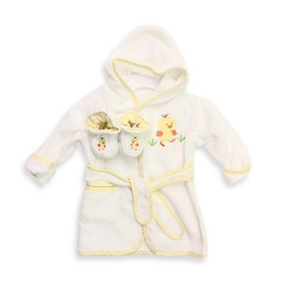Spasilk® Baby Size 0-9M Duck Hooded Terry Bathrobe and Booties Set in Yellow/White