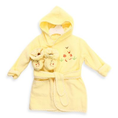 Spasilk® Baby Size 0-9M Duck Hooded Terry Bathrobe and Booties Set in Yellow