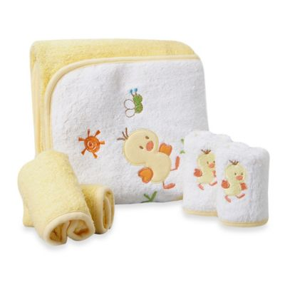 Spasilk® Baby Duck 5-Piece Terry Hooded Towel and Washcloth Set in Yellow