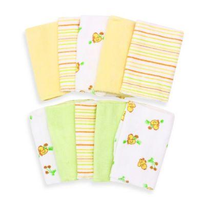 Spasilk® Baby 10-Pack Washcloth Set in Yellow Ducks