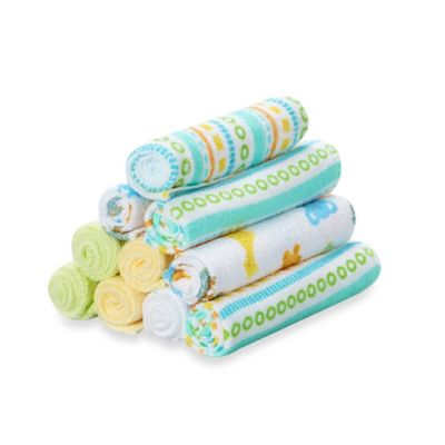 Spasilk® 10-Pack Washcloth Set in Yellow Lines