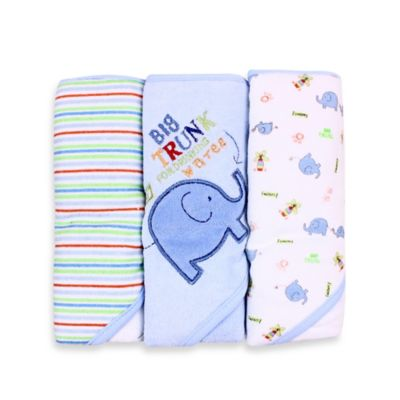 Spasilk® Baby Stripe/Elephant Applique/Elephant Print 3-Count Terry Hooded Towel in Blue