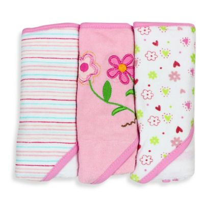 SpaSilk® Baby Stripe/Flower/Print 3-Count Terry Hooded Towel in Pink