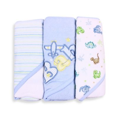 Spasilk® Baby Stripe/Baby Plane/Dinosaur 3-Count Terry Hooded Towel in Blue