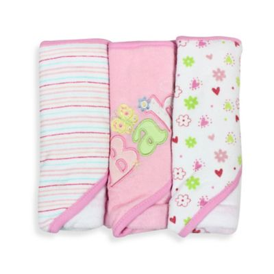 Spasilk® Baby Stripe/Baby Butterfly/Floral 3-Count Terry Hooded Towel in Pink