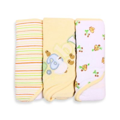 Spasilk® Baby Stripe/Baby Duck Applique/Duck Print 3-Count Terry Hooded Towel in Yellow