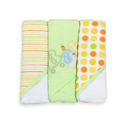 Spasilk® Baby Stripe/Baby Duck/Dots 3-Count Terry Hooded Towel in Green