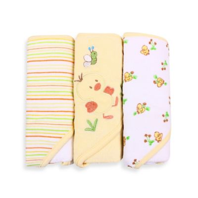 Spasilk® Baby Stripe/Duck Applique/Duck Print 3-Count Terry Hooded Towel in Yellow