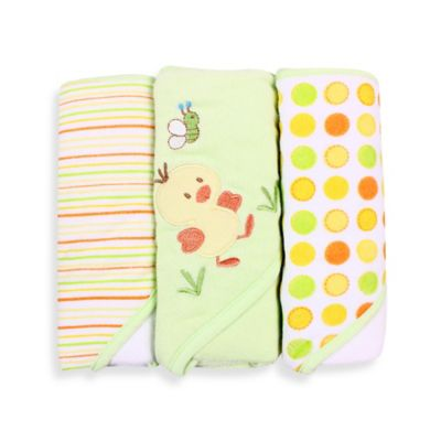 Spasilk® Baby Stripe/Duck Applique/Dots 3-Count Terry Hooded Towel in Green