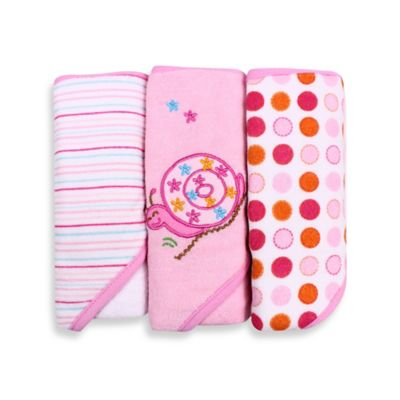 Spasilk® Baby Stripe/Snail Applique/Dots 3-Count Terry Hooded Towel in Pink