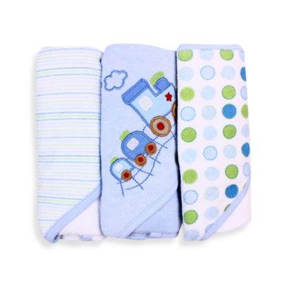 Spasilk® Baby Stripe/Train Applique/Dots 3-Count Terry Hooded Towel in Blue