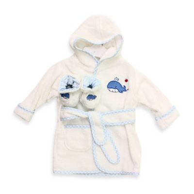 Spasilk® Baby Size 0-9M Whale Hooded Terry Bathrobe and Booties Set in White/Blue