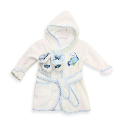 Spasilk® Baby Size 0-9M Airplane Hooded Terry Bathrobe and Booties Set in White/Blue