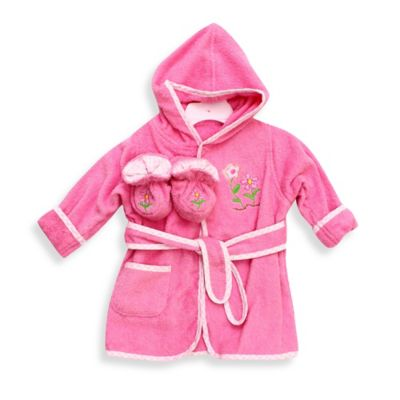 Spasilk® Baby Size 0-9M Flower Hooded Terry Bathrobe and Booties Set in Pink/White