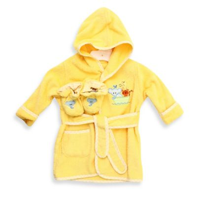 Spasilk® Baby Size 0-9M Ark Hooded Terry Bathrobe and Booties Set in Yellow