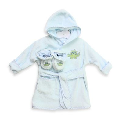 Spasilk® Baby Size 0-9M Dinosaur Hooded Terry Bathrobe and Booties Set in Blue