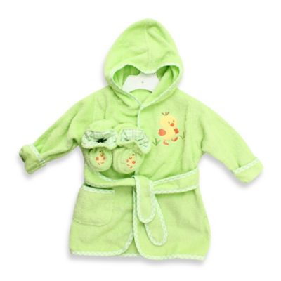 Spasilk® Baby Size 0-9M Duck Hooded Terry Bathrobe and Booties Set in Green