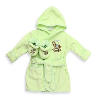 Spasilk® Baby Size 0-9M Horse Hooded Terry Bathrobe and Booties Set in Green