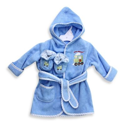 Spasilk® Baby Size 0-9M Train Hooded Terry Bathrobe and Booties Set in Blue