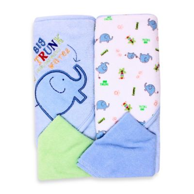 Spasilk® Baby Elephant 4-Piece Terry Hooded Towel and Washcloth Set in Blue