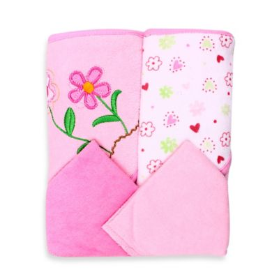 SpaSilk® Baby Flower 4-Piece Terry Hooded Towel and Washcloth Set in Pink