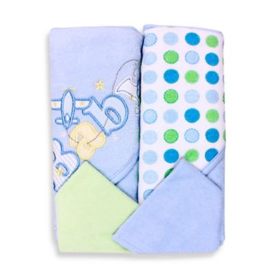 Spasilk® Baby Plane/Dots 4-Piece Terry Hooded Towel and Washcloth Set in Blue