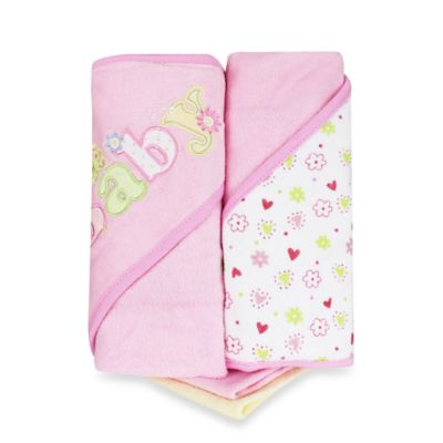 Spasilk® Baby 4-Piece Terry Hooded Towel and Washcloth Set in Pink