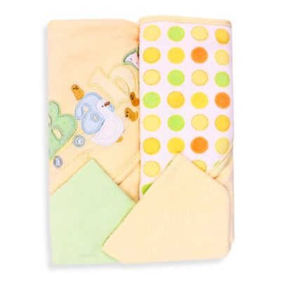 Spasilk® Baby 4-Piece Terry Hooded Towel and Washcloth Set in Yellow