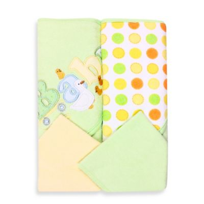Spasilk® Baby 4-Piece Terry Hooded Towel and Washcloth Set in Green