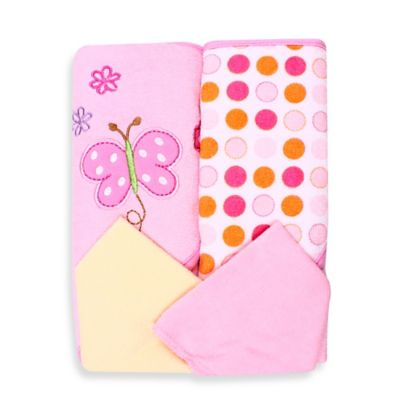 Spasilk® Baby Butterfly 4-Piece Terry Hooded Towel and Washcloth Set in Pink