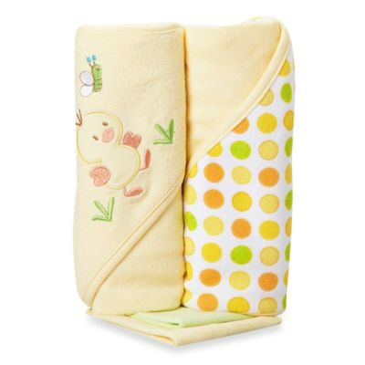 Spasilk® Baby Duck 4-Piece Terry Hooded Towel and Washcloth Set in Yellow